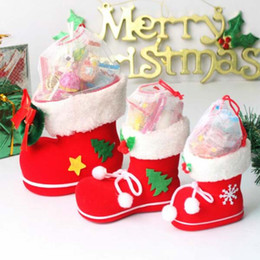 Wholesale Santa Boots Decorations - 5pcs lot S M L Size Christmas Decorations Ornament Boots Xmas Gift Santa Claus Candy Jar Table Decor Supplies