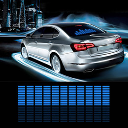 Wholesale change car color - Car Auto Music Rhythm Changed Jumpy Sticker LED Flash Light Lamp Activated Equalizer EL Sheet Rear Window Styling Cool Sticker