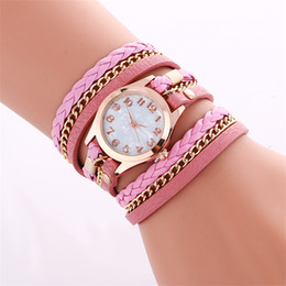 Wholesale Wholesale Wrap Leather Watches - Vintage ladies women watches Fashion Colorful Weave Wrap Rivet ladies Leather Bracelet wristwatches chain dress watches