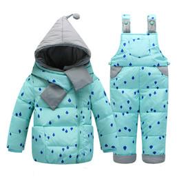 Wholesale Down Coat Overall Girl - Kids Down Set 2016 Winter Children's Clothing Set Kids Ski Suit Overalls Baby Girls Down Coat Warm Snowsuits Jacket+bib Pants Suit