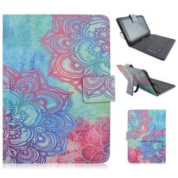 "universal tab cover Promo Codes - Wholesale-Universal pu leather stand case For 9-10.1"" tablet with micro usb keyboard,10"" Android tab stylish Cartoon painted leather cover"