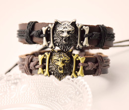 Wholesale Bracelet Wolf - Man's Coffee Leather Bracelet Cool Wolf Head Design Charm Wristband Jewelry Holiday Gift for Men and Women Free Shipping