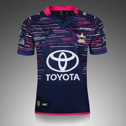 Wholesale Rugby Jersey Navy - Free ship!NRL National Rugby League NRL North Queensland 2017 jersey High-temperature heat transfer printing jersey Road navy color