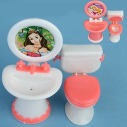 Wholesale Furniture Sinks - Doll House Dollhouse Furniture Bathroom Set Toilet and Sink Pretend Play Classic Toys Furniture Toys Best Gift for Kids Girl