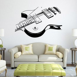 Wholesale Large Vinyl Music Wall Stickers - Wholesale 1 Piece DIY Guitar Music Mural Removable Wall Stickers Art Vinyl Decal Home Room Decor