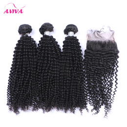 Wholesale Curly Top Closures - 4Pcs Lot Brazilian Curly Virgin Hair With Closure Grade 8A Unprocessed Brazilian Kinky Curly Virgin Hair Weave Bundles And Top Lace Closures