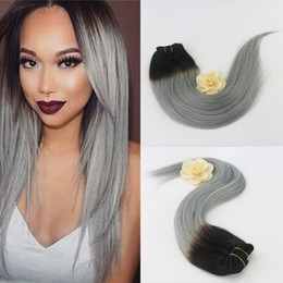 Wholesale Dip Dyed Hair - Dip and Dye Ombre Clip in Human Hair Extension Remy Full Head Dark Fading to Grey Virgin Clip in Extensions 7pcs 120gram