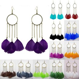 Wholesale Circle Chandelier Light - Feather Earrings 12 Colors wholesale lots Cute Circle Charm Chain Light Dangle Eardrop ( Sky Blue Burgundy Black White Brown Green ) (JF259)