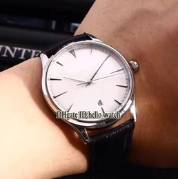 Wholesale Thinnest Automatic Watch - Super Clone Luxury Brand MASTER ULTRA THIN Q1288420 1282510 White Dial Automatic Mens Watch Leahter Strap High Quality New Watches JL10