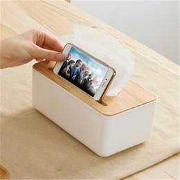 Wholesale Country Wooden - Wholesale- Top PP tissue box napkin holder dispenser oak wooden cover paper tissue box holder home organizer decoration