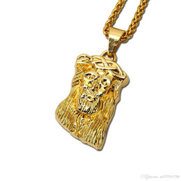 pendant design gold small Promo Codes - Fashion Men Small Jesus Piece Pendant Necklaces Design For Micro Rock Rap Hip Hop Gold Jewelry Mens 75cm Long Chains Cheap Necklaces