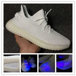 Wholesale Fluorescent Shoe Laces - CP9366 Triple White Fluorescent Kanye West Sply Boost 350 V2 Black word 350V2 real booots Men Women sneaker sport Running Shoes with box