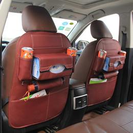 Wholesale Car Back Seat Pocket - Car backseat organizer multi-pockets with kick mat -pu leather Auto backseat pocket storage