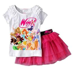 Wholesale Skirt Kids Boys - Baby Girls Outfits Girl Winx Club Short Sleeve Top With TuTu Lace Skirts Summer Kids Suit Clothing Sets