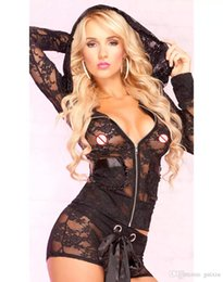 Wholesale Adults Jackets - Sexy Lingerie See Through Adult Sexy Underwear For Women Long Sleeve Hooded Lace Jacket Plus Size Lingerie