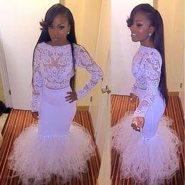 Wholesale Mermaid Prom Dress Beaded Bodice - 2017 White Real Mermaid Prom Dresses Dubai Long Sleeves Illusion Bodice Evening Gowns White Carpet Vestidos De Fiesta Celebrity Dresses
