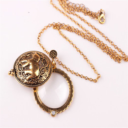 Wholesale Magnifying Glass Gold - Wholesale-Elephant Hollow Tree Of Life Circle Glass Cabochon Domed Magnifying Glass Necklace Unisex Magnifier Pendant Antique Gold Jewelry