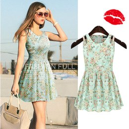 Wholesale Mini Couture - Woman Clothes The New Cotton Little Fresh Floral Dress Couture Show Thin Sleeveless Vest Skirt In Spring and Summer