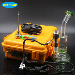 Wholesale Heater Green - Electric Nail Dab Coil Heater D-nail Hot Runner with Titanium Nail Electric nails heater box Electric heating green color bongs