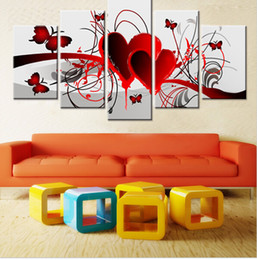 Wholesale Pictures Red Hearts - Home Decor Hand Painted Red Love Heart Butterfly Oil Painting Living Room Wall Painting 5 Pieces Canvas Art Pintura