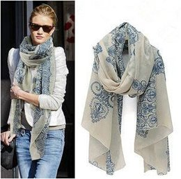 Wholesale Korean Porcelain - Wholesale-DF-001 Fashion Totem Female Korean The New Chiffon And Cotton Blue And White Porcelain Scarf Shawl Clothing Wholesale