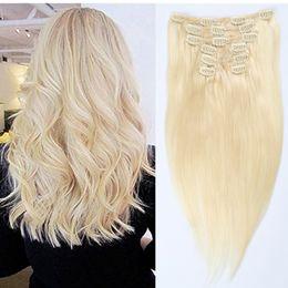 Extensões de cabelo permanente on-line-100% Brasileiro Remy Clipe em Extensões de Cabelo Humano 7 pçs / set 16clips # 613 Extensões de Cabelo Loiro Crochet Em Linha Reta pode ser Permed Frete Grátis