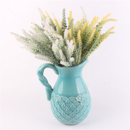Lavande romantique en Ligne-25 têtes Romantique Provence décoration fleur de lavande soie fleurs artificielles grain décoratif Simulation de plantes aquatiques