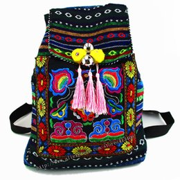 Wholesale Hmong Embroidery - Wholesale- Tribal Vintage Hmong Thai Indian Ethnic Embroidery Bohemian rucksack Boho hippie ethnic bag backpack bag L size SYS-170B