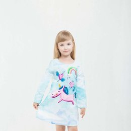Wholesale Girls Dressess - High-quality Fashion Princess Printed Cartoon Unicorn Rainbow Dress Girls Sky Blue Dressess Children's Party Clothes