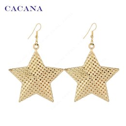 Wholesale Ship Chandelier For Sale - CACANA Gold Plated Dangle Long Earrings Big Stars With Holes Free Shipping For Women Bijouterie Hot Sale No.A79 A80