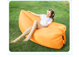 Wholesale Wholesale Furniture Couches - Fast Inflatable Sofa Sleeping Bag Outdoor Air Sleep Sofa Couch Portable Furniture Sleeping Hangout Lounger Inflate Air Bed Imitate 250*72cm