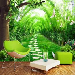 Murales 3D Carta da parati cinese Paesaggio pastorale Stanza di bambù Soggiorno divano sfondo camera da letto spazio di estensione per il desktop da