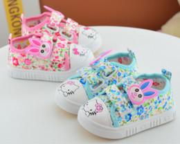 Wholesale Girl Rabbit Canvas Shoes - Baby Kid prewalker Sneaker Non-slip Breathable Girls First Walking Hook Shoes Children girls soft bottom Shoes Cartoon Rabbit Printed Plimsl