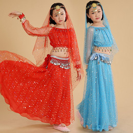 Wholesale Kids Indian Dance Costumes - Kids Belly Dance Costume Set Indian Costumes Children Oriental Dance Costumes Girls Dancing Clothing 5 Colors UD0068