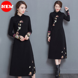 Wholesale Vintage Clothing Stand - Autumn Winter dresses for women clothes Long sleeve Floral print Black color Cheongsam Slim Casual dress