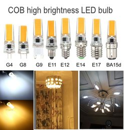 Wholesale E17 Candle - Dimmable G4 G8 G9 GY6.35 E11 E12 E14 E17 BA15D 5W LED COB Bulb Replacement Lights 110V 220V Mini White Warm Silicone lamp, Pack of 10 Units