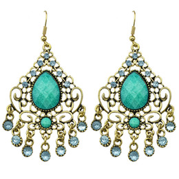 Wholesale Jewelry Designs Gothic - Fashion Design Jewelry Gifts Simulated Gemstone Vintage Gothic Water Drop Alloy Earrings For Women