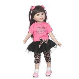 18 polegada Longa Brown Hair Girl Lifelike Boneca De Vinil De Silicone Reborn Bebê Recém-nascido Handmade Boneca Reborn de