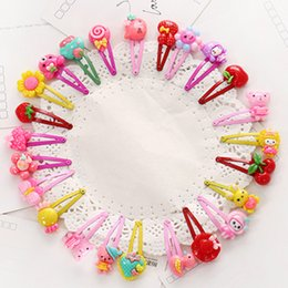 Wholesale Cartoon Hair Ties - Wholesale- 10 Pcs lot Cartoon Beads Candy Color Hair Clips & Ropes Girls' Hair Ties Kids BB Hairpin Accessories