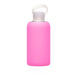Wholesale Design Glass Bottle Water - The Cute 500mL Bkr Glass Water Bottle Design Silicone Cover carry a water bottle