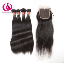 Wholesale Derun Virgin Hair - Indian Human Hair Extensions With Closure 100% Unprocessed Indian Virgin Hair Lace Closure Bundles Derun Cheap Raw Indian Hair Weave