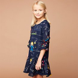 Wholesale Girls Cotton Party Dresse - Big Girl Dresses New 2017 Children Dresse Floral Printed Half Sleeve Chiffon European Fashion HOT Girl Party Dress Navy Blue A7432