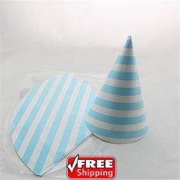 Wholesale Cheap Hat Decorations - Wholesale-24pcs Choose Your Colors Birthday Light Blue Striped Paper Party Hats Cheap-Baby Boy Shower Wedding Decorations Headpiece Caps