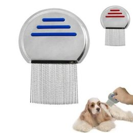 Wholesale Stainless Steel Pet Comb - Stainless Steel Lice Round Comb Non-slip Handle Nit Free Terminator Pet Dog Cat Louse Flea Remove Round Lice Comb CCA6666 500pcs