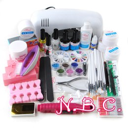 Wholesale Uv Gel Set Light - Wholesale- Professional Full Set UV Gel Kit Nail Art Set + 9W White Curing UV Lamp Dryer Light Curining Nail Kit Mini Nail Bits From