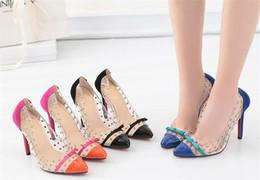 Wholesale Transparent Rivet High Heels - Lady Wedding Stilettos Party Prom Womens Single Shoes Poinited Toes Shoes High Heels Shoe Heel 11 cm Rivets Bowtie Transparent