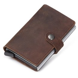 Wholesale Block Cards - 2017 New Genuine Leather Credit Card Holder RFID Blocking Slim Mini Wallet Men Aluminum Credit Card Case Wallet ID Holders
