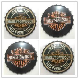 Wholesale Wholesale Beer Cap - Harley Davidson Round Vintage tin sign 35cm Round GENUINE MOTORCYCLES MOTOR Embossed Beer Bottle Cap Metal sign bar poster 3D style