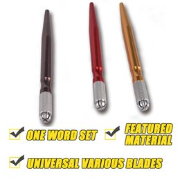 Wholesale Eyebrow Lip Tattooing - Manual Tattoo Eyebrow Pen Microblading Pen Cross Knife Design For A Variety Of Bades Eyebrow Embroidery Microblading Hand Tools