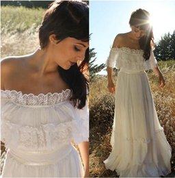 Wholesale Lace Trim White Short Dress - Vintage Country Style Bohemian Wedding Dress Off the Shoulder Lace Trim Chiffon Beach Garden Boho Bridal Gowns Full Length